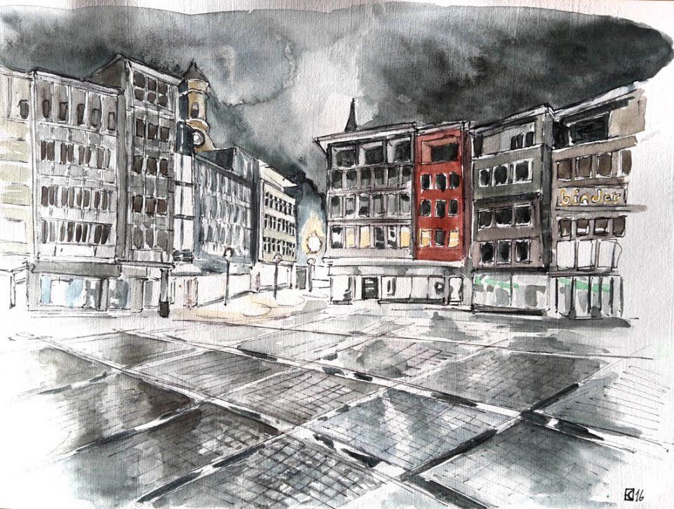 aleisa-stuttgart-rathausplatz-fineliner-aquarell-dina4-stefan-eisele